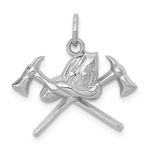 14K White Gold Fire Department Charm