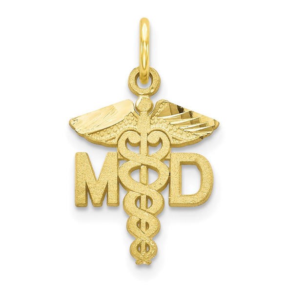 10k Yellow Gold Solid Doctor Of Medicine Md Charm
