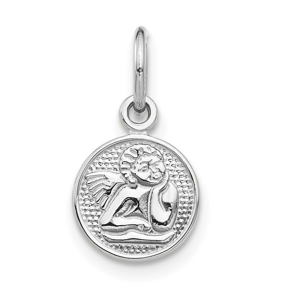 14K White Gold Small Polished Angel Charm