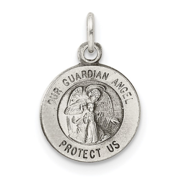 Sterling Silver Antiqued Guardian Angel Medal Charm QC5817