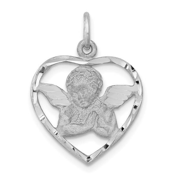 14K White Gold Angel In Heart Charm