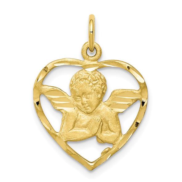 10k Yellow Gold Angel Heart Charm