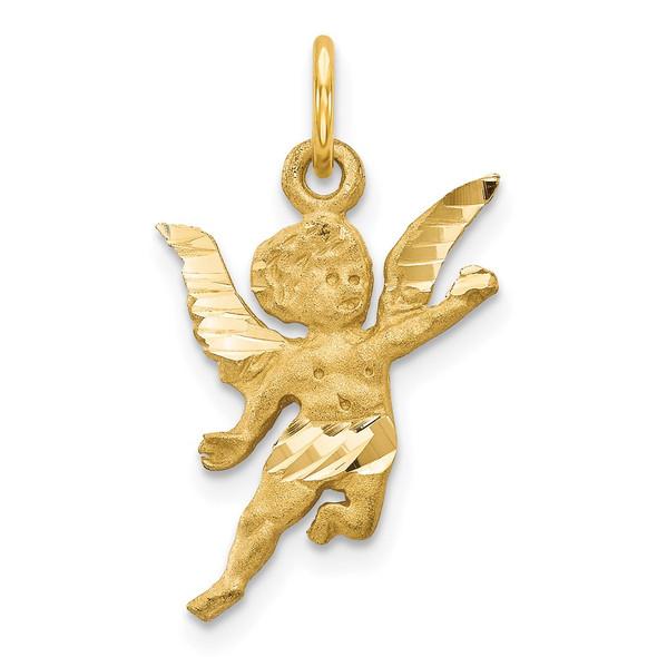 14k Yellow Gold Diamond-Cut Angel Charm