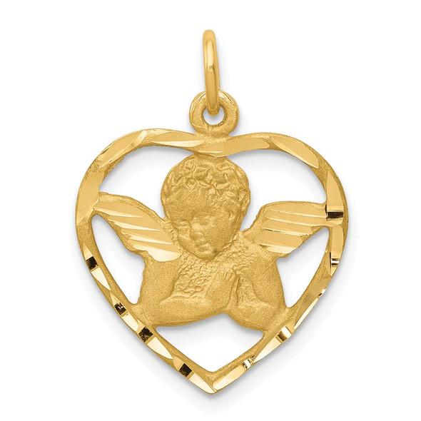 14k Yellow Gold Angel In Heart Charm