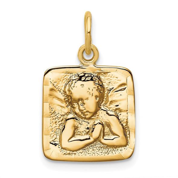 14k Yellow Gold Satin and Diamond-cut Angel Charm C346