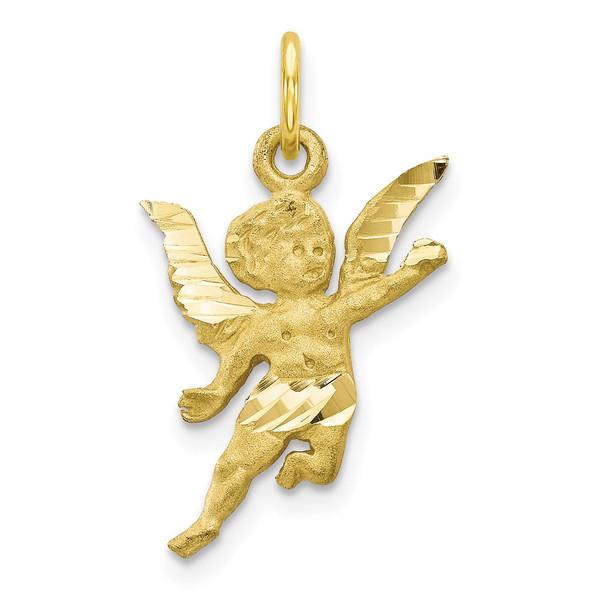 10k Yellow Gold Solid Satin Angel Charm