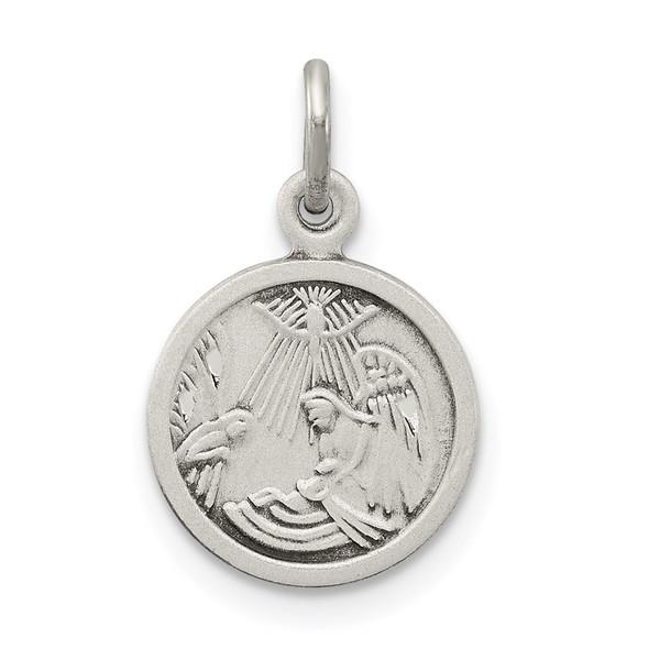 Sterling Silver Antiqued Baptism Medal Charm QC3667