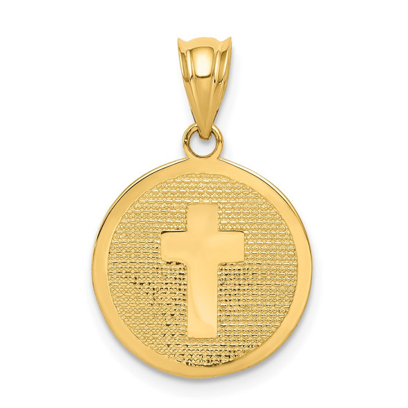 14k Yellow Gold Reversible Cross and 1st Holy Communion Charm