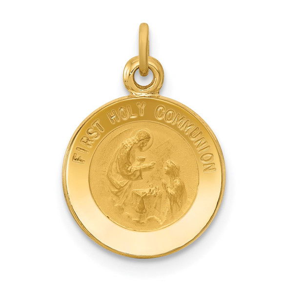 14k Yellow Gold First Communion Medal Charm