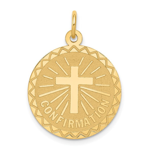 14k Yellow Gold Confirmation Disc Charm