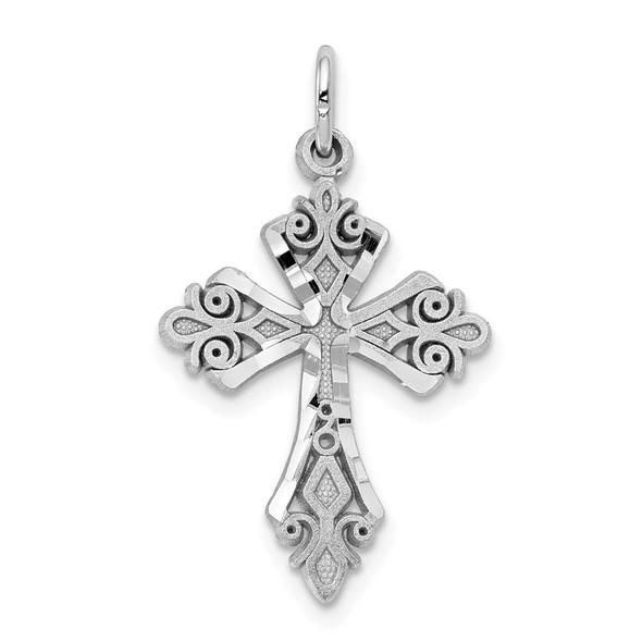 10k White Gold Diamond-cut Cross Charm 10WC45