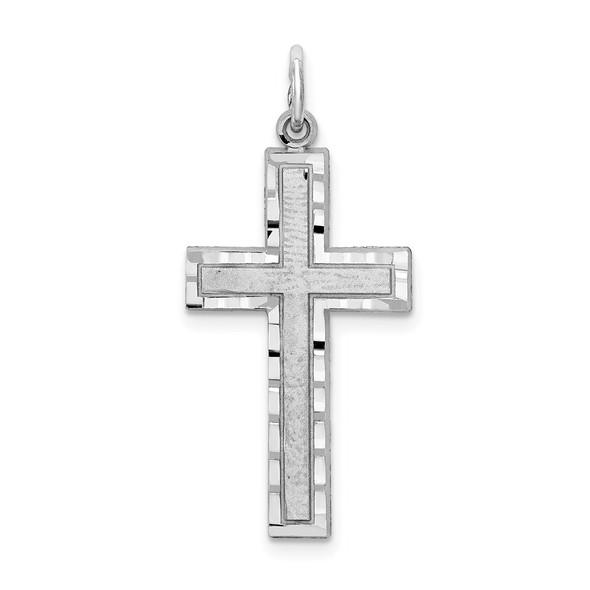10K White Gold Cross Charm