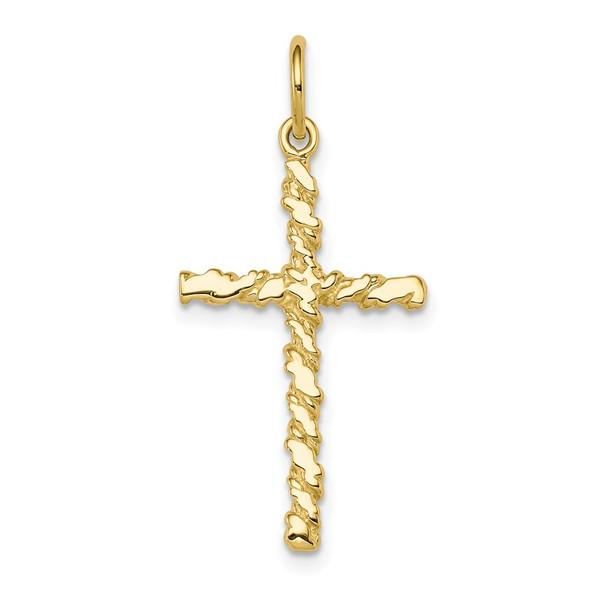 10k Yellow Gold Nugget Cross Charm