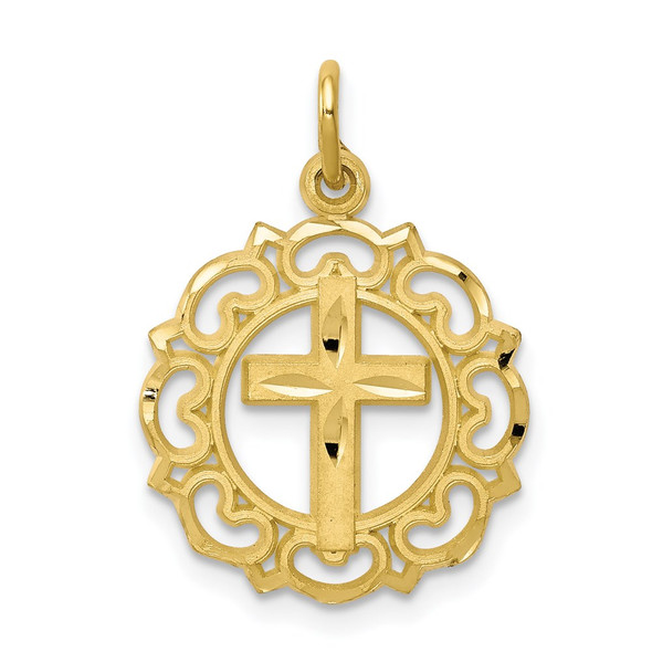 10k Yellow Gold Cross In Frame Charm