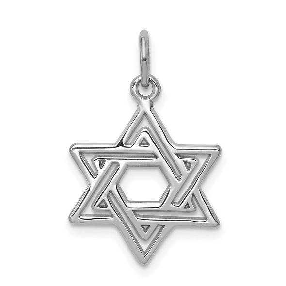 14k White Gold Jewish Star Of David Charm