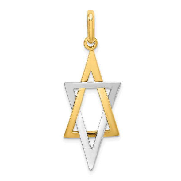 14k Gold With Rhodium-Plating Elongated Jewish Star Of David Charm