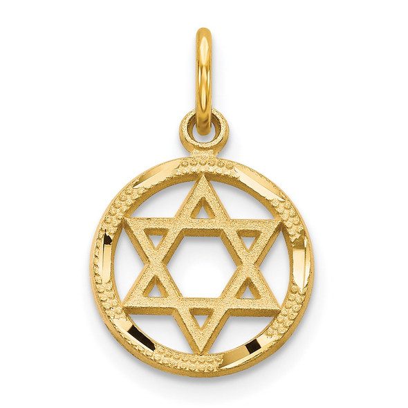 14k Yellow Gold Solid Polished Star Of David Charm C823
