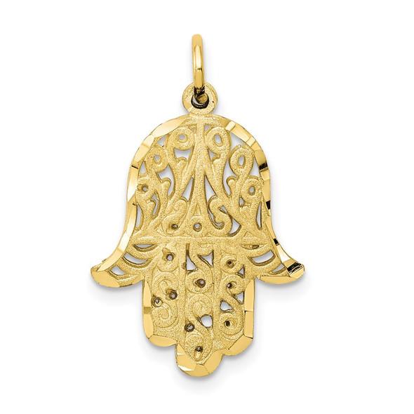 10k Yellow Gold Filigree Chamseh Charm