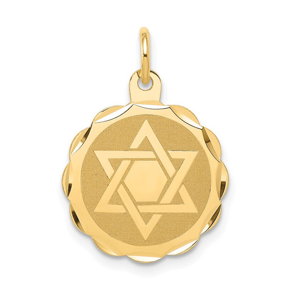 14k Yellow Gold Solid Star Of David Disc Charm