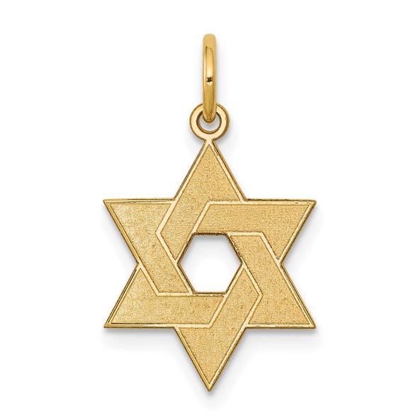 14k Yellow Gold Laser Designed Star Of David Charm