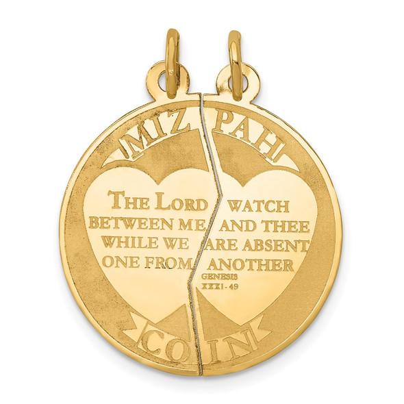 14k Yellow Gold Mizpah 2-Piece Charm