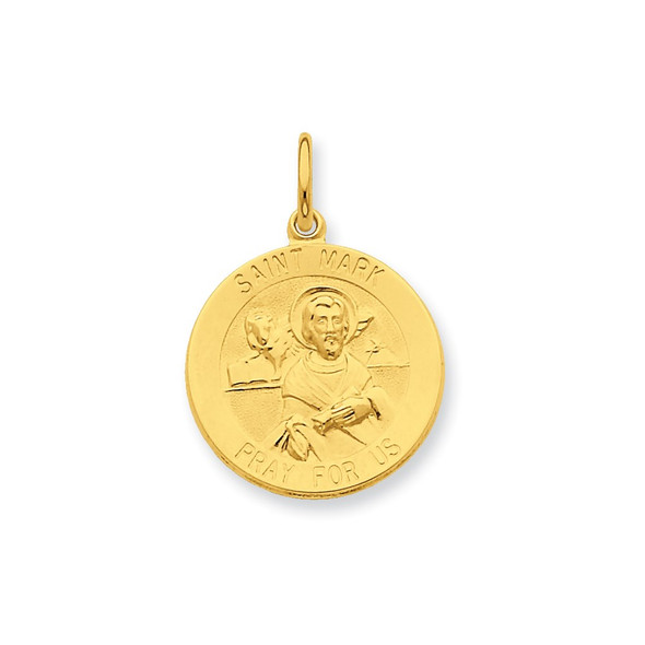 Gold-Plated Sterling Silver Saint Mark Medal Charm QC5773