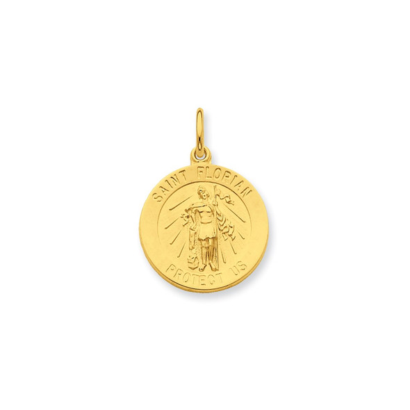 Gold-plated Sterling Silver Saint Florian Medal Charm