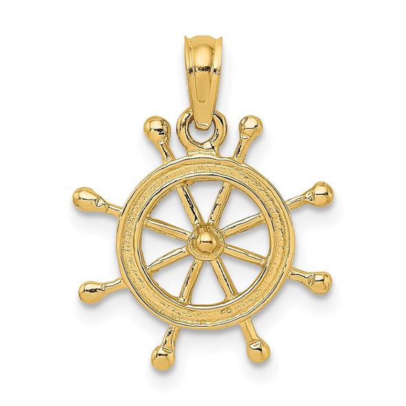 14k Yellow Gold 2-D Ship Wheel Charm