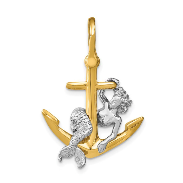 14k Two-tone Gold 3-D Anchor and Mermaid Charm