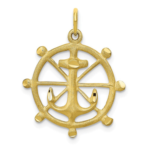10k Yellow Gold Anchor In A Wheel Charm
