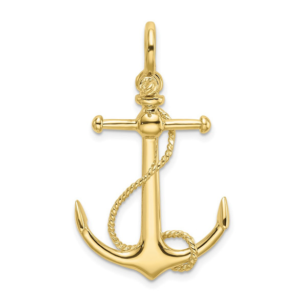 10k Yellow Gold 3-D Anchor w/Long T Bar and Shackle Bail Charm