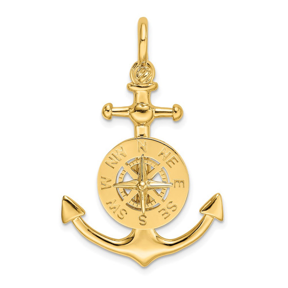 14k Yellow Gold 3-D Small Anchor w/Nautical Compass Charm