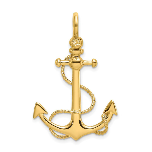 14k Yellow Gold 3-D Small Anchor w/ Rope and Shackle Bail Charm