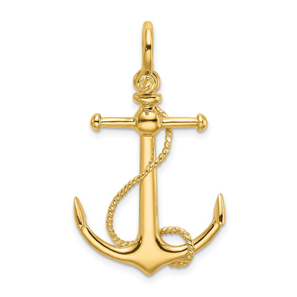 14k Yellow Gold 3-D Anchor w/ Long T Bar and Shackle Bail Charm