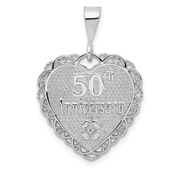 14k White Gold Polished Faceted Reversible 50th Anniversary Pendant