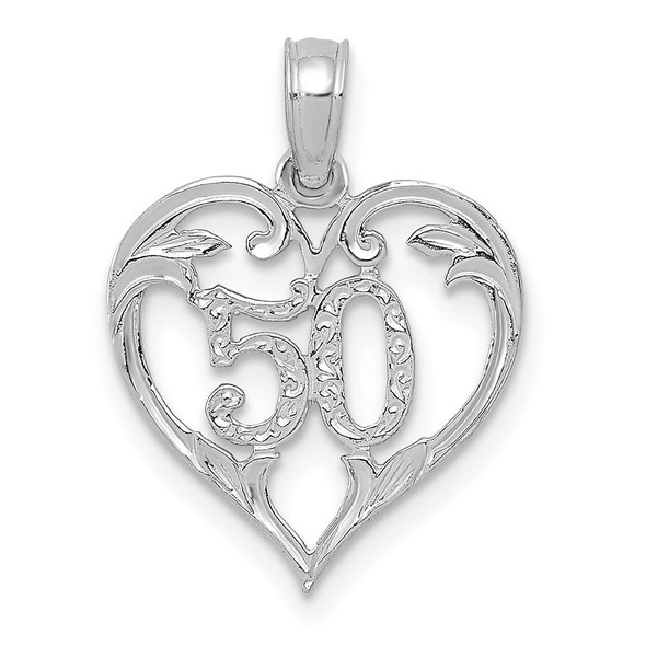 14k White Gold 50 in Heart Cut-out Pendant