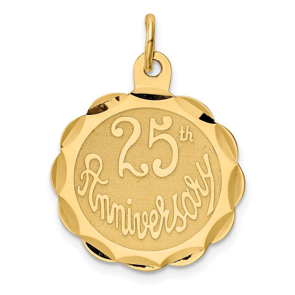 14k Yellow Gold 25Th Anniversary Disc Charm