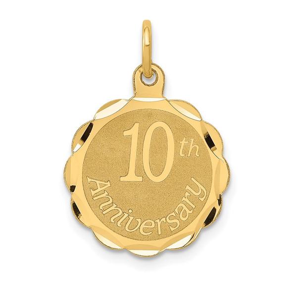 14k Yellow Gold Happy 10th Anniversary Charm XAC578