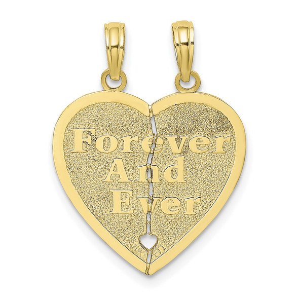10k Yellow Gold Forever And Ever 2 Piece Break-A-Part Heart Pendant