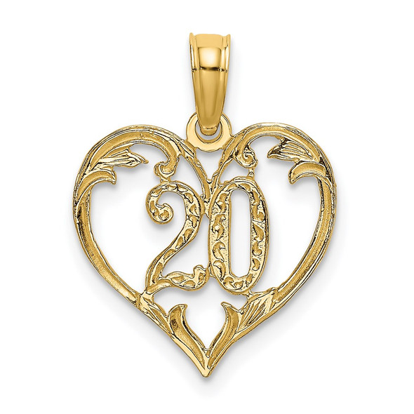 14k Yellow Gold 20 In Heart Pendant