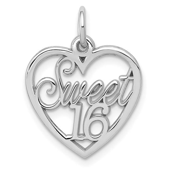 14K White Gold Sweet 16 Heart Charm