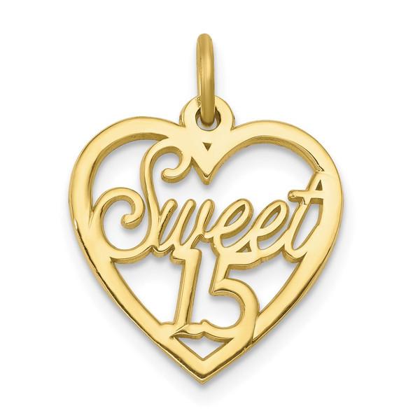 10k Yellow Gold Sweet 15 In Heart Charm
