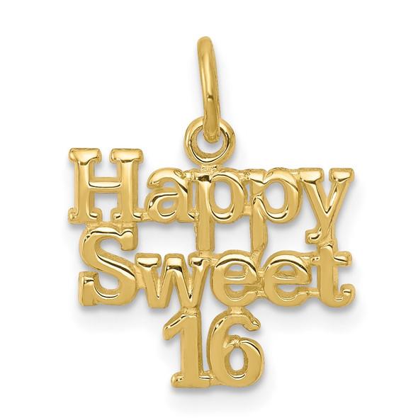 10k Yellow Gold Happy Sweet 16 Charm