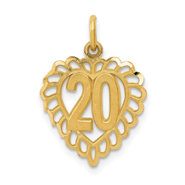 14k Yellow Gold 20 In Heart Charm