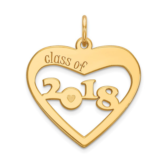 14k Yellow Gold Class of 2018 Heart Cut Out Charm