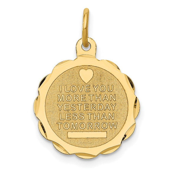 14k Yellow Gold Love Sentinment Engraveable Charm
