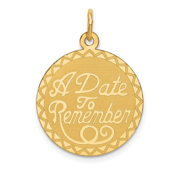 14k Yellow Gold A Date To Remember Charm XAC557