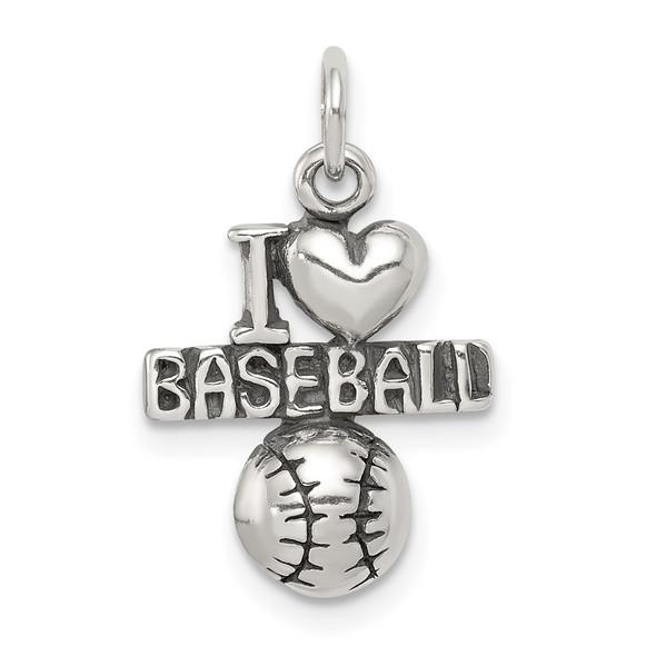 Sterling Silver Antiqued I (Heart) Baseball Charm