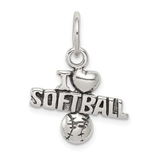 Sterling Silver Antiqued I (Heart) Softball Charm