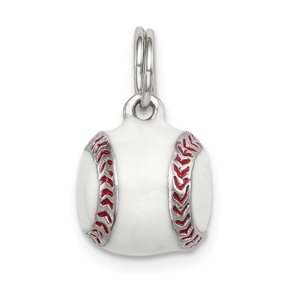 Sterling Silver 3D Enamel Baseball Charm